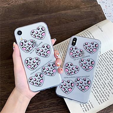 voordelige iPhone X hoesjes-hoesje Voor Apple iPhone XS / iPhone XR / iPhone XS Max Transparant / Patroon Achterkant Hart TPU