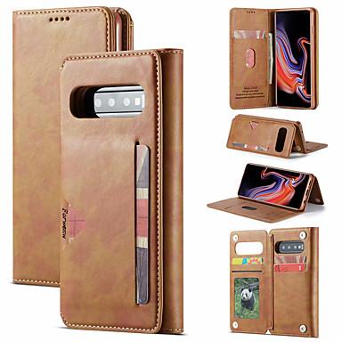 voordelige Galaxy S-serie hoesjes / covers-luxe hoesje voor samsung galaxy s10 plus s10e s9 plus telefoonhoes lederen flip portemonnee magnetische hoes