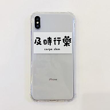 voordelige iPhone-hoesjes-hoesje Voor Apple iPhone XS / iPhone XR / iPhone XS Max Ultradun Achterkant Woord / tekst / Transparant TPU