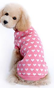 스웨터 강아지 의류 심장 핑크 울 코스츔 애완 동물 따뜻함 유지