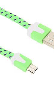 Micro USB 2.0 USB 2.0 USBケーブルアダプタ 編み フラット ケーブル 用途 200 cm ナイロン