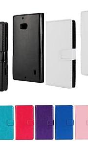 용 노키아 케이스 지갑 / 카드 홀더 / 스탠드 케이스 풀 바디 케이스 단색 하드 인조 가죽 Nokia Nokia Lumia 930