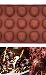 15 Hole Silicone Mold Chocolate Mousse Cake Baking  Mold (Round Chocolate)(Color Random)