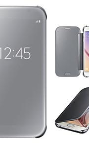 fodral Till Samsung Galaxy Samsung Galaxy S7 Edge med fönster Spegel Lucka Fodral Ensfärgat PC för S7 edge S7 S6 edge plus S6 edge S6