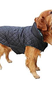 강아지 코트 조끼 겨울 의류 강아지 의류 격자무늬/체크 베이지 브라운 레드 그린 면 코스츔 애완 동물 남성용 여성용 양면 가능 따뜻함 유지
