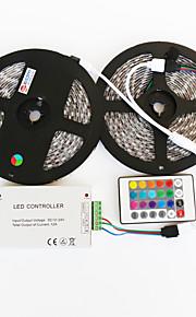 z®zdm 2x5m vanntett 144w 5050 smd RGB LED lampe stripe 1bin2 signallinjen ir24 jern kontrolleren (DC12V 12a)
