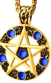 mest populære 18K forgyldt vedhæng blå rhinestone runde stjerne halskæde kvinder mænd middelalderen stil smykker p30167