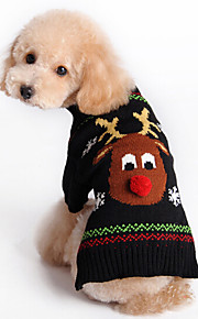 Autumn and Winter Christmas Red Nose Reindeer Black Animals Dog Sweater Dog Clothes for Pet Dogs