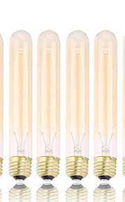 GMY 6pcs t30 Edison pære vintage pære 40w e26 / e27 dekorere pære 185mm