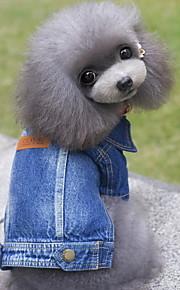 Dog Denim Jacket/Jeans Jacket Dog Clothes Jeans Blue Denim Costume For Pets Men's Women's Cute Cowboy Fashion