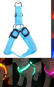 고양이 강아지 하니스 가죽끈 훈련 안전 등 조명 끈 LED 조명 조절 가능 / 리트랙터블 솔리드 나일론 옐로우 그린 블루 핑크 다크 레드