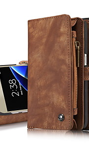 fodral Till Samsung Galaxy S8 Plus S8 Korthållare Plånbok med stativ Lucka Fodral Ensfärgat Hårt Äkta Läder för S8 Plus S8 S7 edge S7