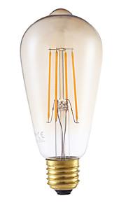 5W E26/E27 LED-glødepærer ST64 4 leds COB Mulighet for demping Dekorativ Ravgult 350lm 2200K AC 220-240V