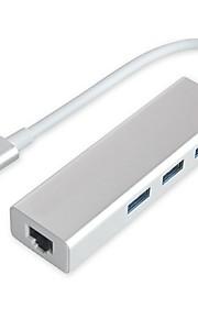 usb3.1 type C til rj45 1000Mbps Ethernet LAN-adapter med 3 port USB 3.0 hub til macbook support IEEE 802.3az
