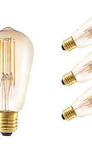 E26/E27 LED-glødepærer ST58 4 leds COB Mulighet for demping Dekorativ Ravgult 350lm 2200K AC 220-240V