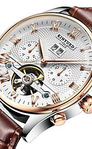 KINYUED Men's Skeleton Watch Wrist Watch Mechanical Watch Japanese Automatic self-winding 30 m Water Resistant / Water Proof Calendar / date / day Chronograph Leather Band Analog Luxury Dress Watch