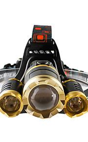 Lanternas de Cabeça Farol Dianteiro LED 4800 lumens lm 4.0 Modo Cree T6 Foco Ajustável Resistente ao Impacto Recarregável Impermeável