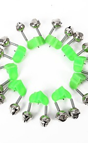 15 Pcs Fishing Bite Alarms Fishing Rod Bells Rod Clamp Tip Clip Bells Ring Green ABS Fishing Accessory