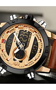 NAVIFORCE Homens Quartzo Digital Relógio Esportivo Calendário Cronógrafo Impermeável Noctilucente Dois Fusos Horários LCD Couro Banda