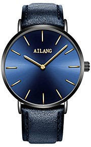 Men's Fashion Watch Quartz Leather Band Minimalist Blue