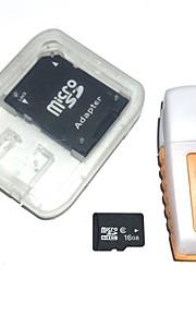 16gb microsdhc tf hukommelseskort med usb kortlæser og sdhc sd adapter
