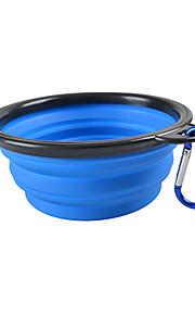 L ネコ 犬 餌入れ/水入れ ペット用 ボウル&摂食 携帯用 折り畳み式 イエロー レッド グリーン ブルー ピンク