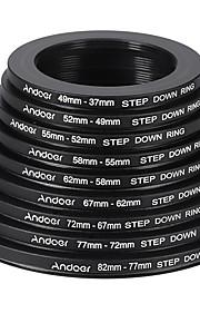 Andoer 18pcs 37-49-52-55-58-62-67-72-77-82mm Step Up / Step Down Lens Filter Metal Adapter Ring Kit