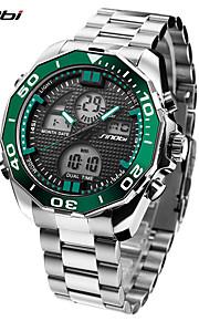 SINOBI Homens Relógio Esportivo Relógio de Pulso Relógio Casual Japanês Digital LED Aço Inoxidável Banda Legal Casual Luxuoso Prata