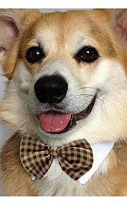 Cat Dog Tie/Bow Tie Dog Clothes Cotton Spring/Fall Summer Casual/Daily Bowknot White Yellow Brown Red Blue For Pets