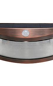 1pcs solenergi lys bevegelsesdeteksjon 8 ledet vanntett utendørs smilende vegg lys trådløs sikkerhet trinn natt lamper-kobber