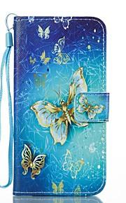 Funda Para Samsung Galaxy Cartera Soporte de Coche con Soporte Flip Diseños Magnética Cuerpo Entero Mariposa Dura Cuero Sintético para J7