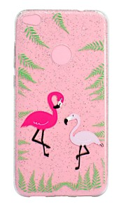 Etui Til Huawei Gjennomsiktig Mønster Bakdeksel Flamingo Glimtende Glitter Myk TPU til Huawei P10 Lite Huawei P9 Lite Huawei P8 Lite