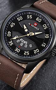 Homens Relógio Esportivo Relógio Militar Relógio de Pulso Japanês Quartzo Calendário Cronógrafo Impermeável Punk Mostrador Grande Couro