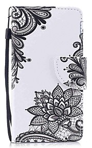 Case For Apple Ipod Touch5 / 6 Case Cover Card Holder Wallet with Stand Flip Pattern Full Body Case  Black Flower Hard PU Leather