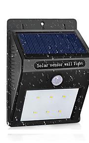 LED solar lampe vanntett pir bevegelsessensor sollys strøm hage utelatt sollys utendørs abs vegglampe