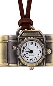 Mulheres Quartzo Relógio de Bolso Chinês Relógio Casual Couro Banda Casual Marrom