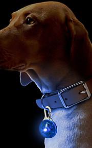 Кошка Собака Ошейники Таблички Светодиодные фонарики Безопасность Однотонный пластик Желтый Красный Зеленый Синий Розовый