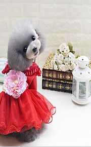 Gato Cachorro Vestidos Roupas para Cães Lã Polar Inverno Primavera/Outono Casual Mantenha Quente Floral/Botânico Vermelho Verde Rosa claro