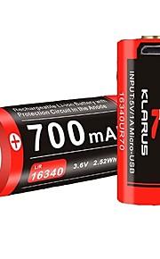 KLARUS 16340UR70 batteri Bærbar Professionel Nemt at bære Høj kvalitet Letvægt for 16340 Lithium Batteri