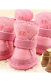 Kat Hond Pet Schoenen Platte schoenen Houd Warm Vrije tijd Effen Bruin Roze Voor huisdieren