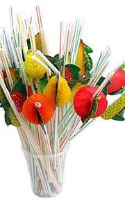100 stykker engangs plast halm papir kunst frukt halm festtilførsel