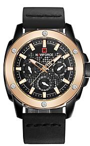 Homens Relógio de Pulso Relógio de Moda Relógio Elegante Suíço Quartzo Calendário Cronógrafo Impermeável Relógio Casual Couro Legitimo