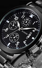 Homens Relógio de Moda Relógio Elegante Relógio de Pulso Japanês Quartzo Calendário Aço Inoxidável Banda Luxo Legal Preta