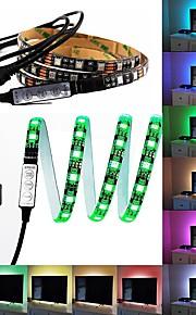 5v usb led stripe 5050 rgb 60leds / m med 17key rf controller 1m sett