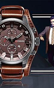 CURREN Homens Quartzo Relógio de Pulso Chinês Mostrador Grande Relógio Casual Couro Banda Casual Elegant Fashion Legal Preta Laranja