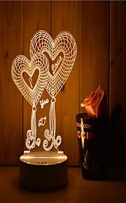 1 sæt 3d stemning nat lys hånd følelse dæmpbar usb powered gave lampe dobbelt hjerte