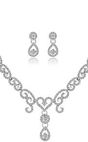 Dame Smykke Sæt Rhinsten Mode Bryllup Legering Geometrisk form 1 Halskæde Øreringe