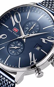 MINI FOCUS Homens Quartzo Relógio de Pulso Chinês Calendário Impermeável Relógio Casual Cronômetro Aço Inoxidável Banda Luxo Casual