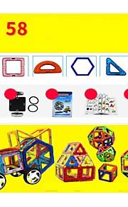 마그네틱 블록 장난감 건설차량 비행기 장난감 라운드 광장 전사 차 건축 운송기기 변형 가능 부모 - 자녀 상호 작용 소프트 플라스틱 메탈 합금 아이 58 조각