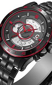 Homens Relógio de Moda Japanês Quartzo Relógio Casual Aço Inoxidável Banda Casual Preta Branco